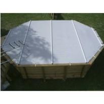 Bâche à barres pour piscine octogonal allongée 415x265 cm
