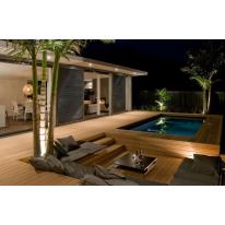 Kit Piscine Bois Rectangulaire avec escalier d'angle et banquette Luxe 420x320x145 cm