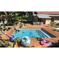 Piscine Bois carrée avec Escalier SPARK CAPRI 420X420x145 cm