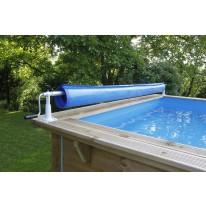 Enrouleur de bâche amovible pour piscine bois