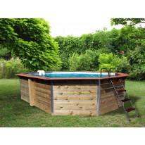 Piscine en bois octogonale allongée FUGUA - 590 x 420 x 129 cm