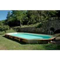 Piscine Bois SUPER LUCCI Allongée avec Plage et escalier sous liner 800x457x130 cm
