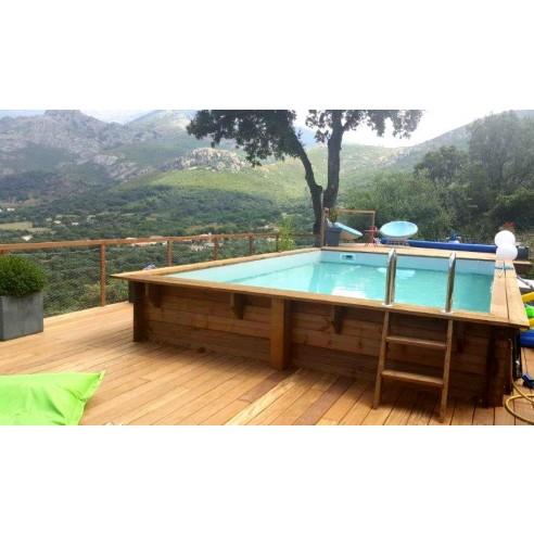 Piscine Bois Hors Sol Rectangulaire Luxe 620x420x130 Cm