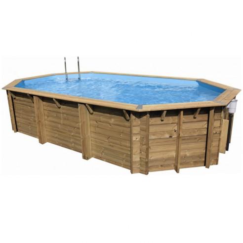 Piscine bois sasha ubbink allong e en kit 355x490xh130 cm for Marque piscine bois